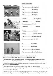 English Worksheet: Modals deduction continuous