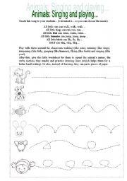 English Worksheets: Animals: singing and playing!