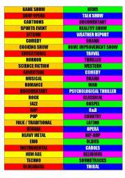 English Worksheet: Genres -- TV programs, movies, and music