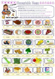 English Worksheet: Uncountable Food & Drink Nouns Pictionary Part 1/2.