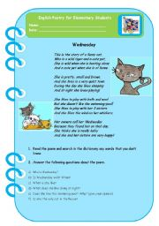 English Worksheets: Wednesday - Poetry for Elementary Students