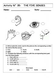 english teaching worksheets the five senses. Black Bedroom Furniture Sets. Home Design Ideas