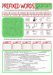 English Worksheet: PREFIXES - un / dis / im / ir / un + KEY
