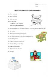 English Worksheet: Shopping dialogue: In the supermarket