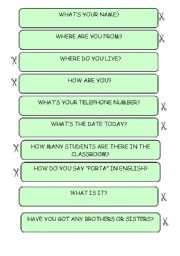 English Worksheets: Questions and answers game