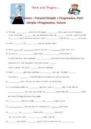 Five tenses - Present  Simple + Progressive, Past Simple + Progressive, Future