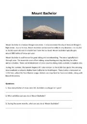English Worksheets: Mount Bachelor reading practice with questions