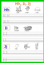 English Worksheets: Hh, Ii, Jj, Kk, Ll, Mm writing. PART 3 (5 pages)
