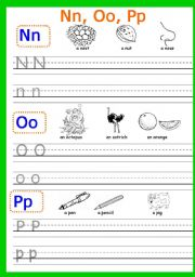 English Worksheets: Writing Nn, Oo, Pp Part 4 (4 pages)