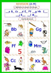 English Worksheets: Writing. Revision Aa-Mm. Reading first words. Part 5.