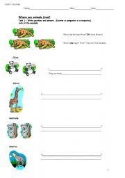 English Worksheets: Where are these animals from?
