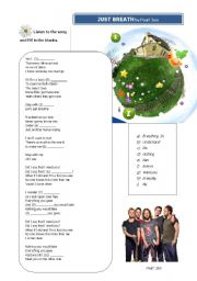 English Worksheets: Listening activity - Just Breath by Pearl Jam