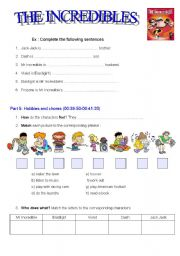 English Worksheets: FILM : The Incredibles PART 2