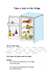 English Worksheet: Worksheet some/any - questions - food - Take a look in the fridge