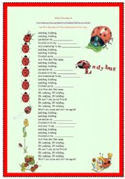 English Worksheet: Song -Ladybug / Song Head and Shoulders