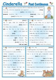 English Worksheets: Fairy Tales/Stories (5): Cinderella - Past Continuous