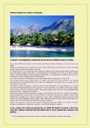 English Worksheet: Haiti devastated by massive earthquake