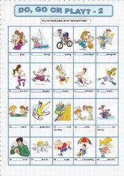 English worksheet: DO, GO or PLAY? - 2
