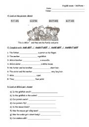English Worksheets: Exam - Family, animal descriptions