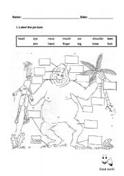 English Worksheets: Funny Gorilla to label