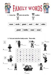 English teaching worksheets: Family