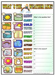 English Worksheet: What´s the weather like (+BW) for beginners