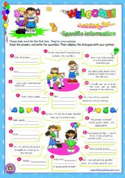 English Worksheets: Asking for specific information Series  (2)  (Wh-questions) - Dialogues for Elementary students
