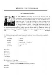 English Worksheets: Reading Comprehension - The Jonas Brothers