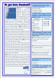 English Worksheet: test: reading/ language and writing