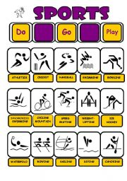 English Worksheet: SERIES SPORTS PLAY - GO- DO - PICTIONARY