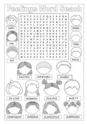 English Worksheet: FEELINGS WORD SEARCH