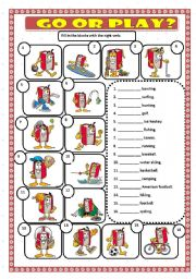 English Worksheets: GO OR PLAY?
