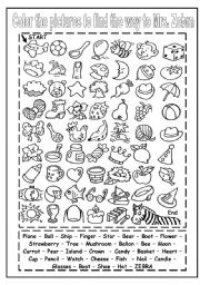 English Worksheet: COLOR THE PICTURES AND FIND THE WAY