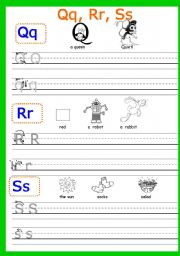 English Worksheets: Writing Qq,  Rr, Ss Part 6 (3 pages)