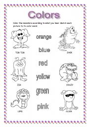 Color the monsters - ESL worksheet by rafateacher