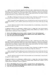English Worksheets: Bullyng
