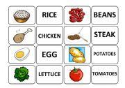 English Worksheet: Food memory game