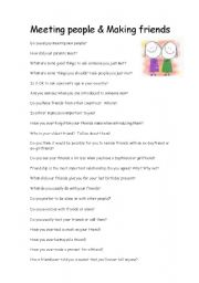 English Worksheet: Meeting people and making friends conversation questions