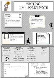 English Worksheets: WRITING - I�m sorry note
