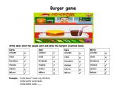English Worksheet: Worksheet some/any  - food - Burger Game- positive/negative sentences