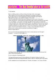 English Worksheet: superlatives 1- wonders of the world