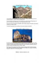 English Worksheet: Superlatives 3- wonders of the world