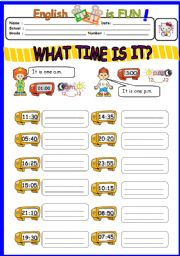 English Worksheet: What time is it ? (2)