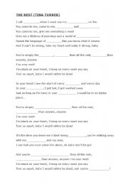 English Worksheet: The Best by Tina Turner