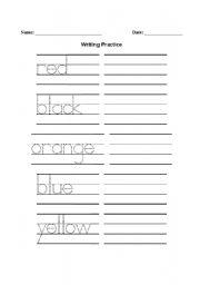 English Worksheets: colours writing worksheet