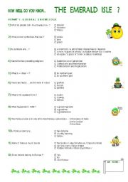 English Worksheets: How well do you know... the Emerald Isle ? ( part 1 )