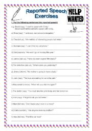 reported speech exercises with key editable reported speech exercises ...