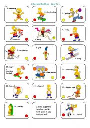 English Worksheet: Likes and Dislikes - Sports - The Simpsons