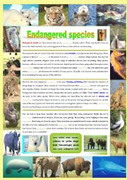 English Worksheet: Endangered species (Part 1/5): Reading (Fill in the gaps)