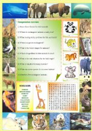 English Worksheet: Endangered species (Part 2/5): Comprehension